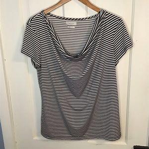 VAN HEUSEN: Black and white stripe silky top. XL